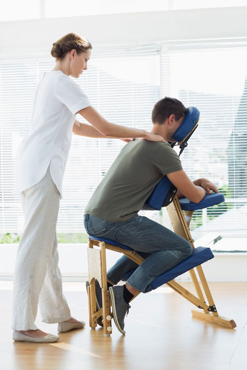 perth corporate massage - seated massage at desk or with massage chair
